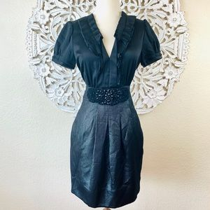 {BCBG} Silk Beaded Appliqué Waist Cocktail Dress
